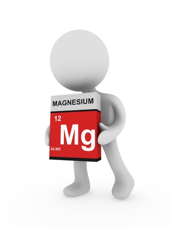 magnesium: 3d man carry a magnesium box