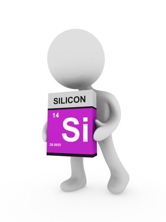 3d man carry a silicon  box