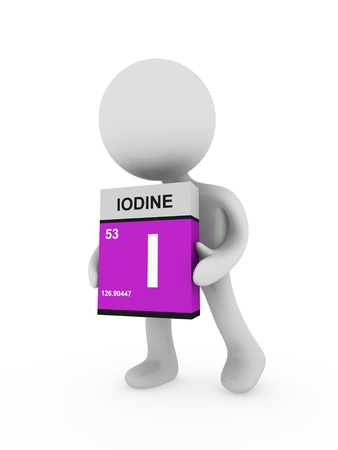 iodine: 3d man carry a iodine box Stock Photo