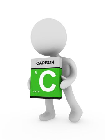 3d man carry a carbon box