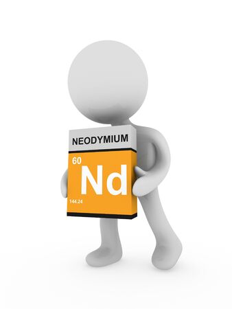 3d man carry a neodymium box Stock Photo