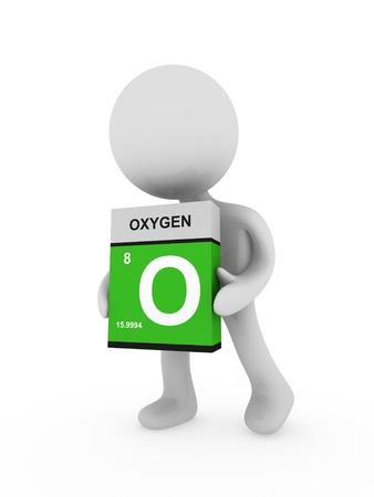 periodic: 3D uomo portare una scatola di ossigeno