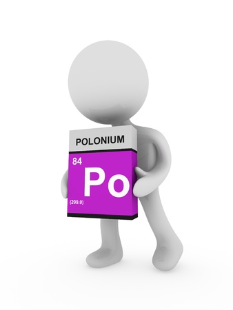 polonium: 3d man carry a polonium box Stock Photo