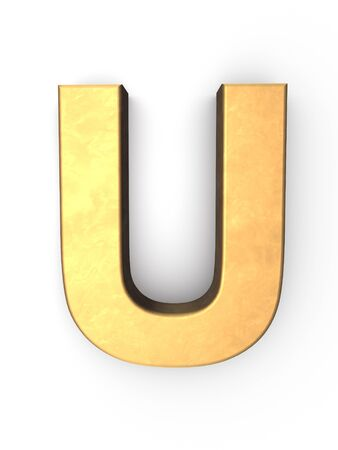 letter u golden metal  photo