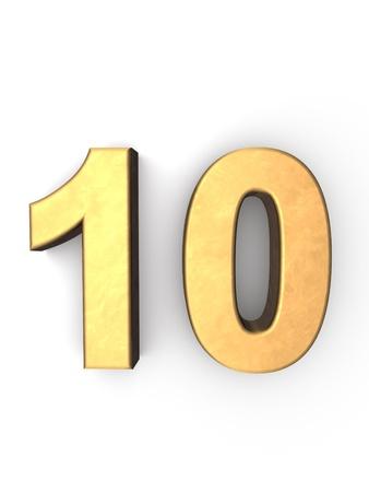numero diez: n�mero diez textura de metal dorado