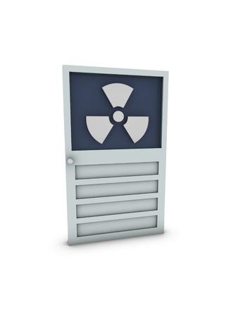 radioactive symbol on door  Stock Photo - 13989760
