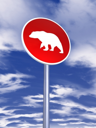 bear sign for traffic  photo