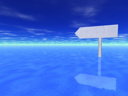 Direction sign on water photo