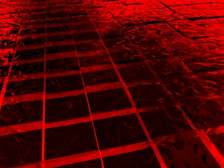surface with red cubes made of ice