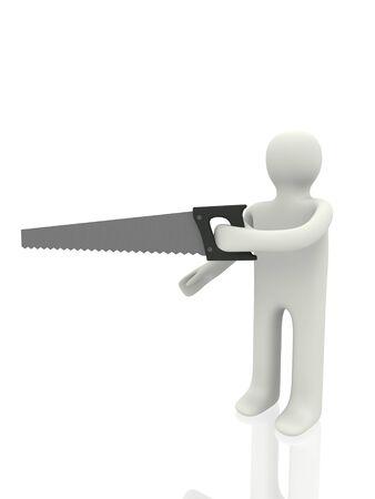 serrucho: trabajador con sierra de mano Foto de archivo
