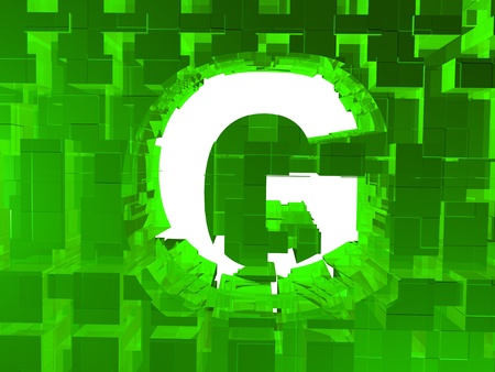Letter G inside in crystal wall  photo