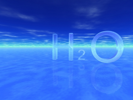 chemical symbol of water, H2O  Stock Photo