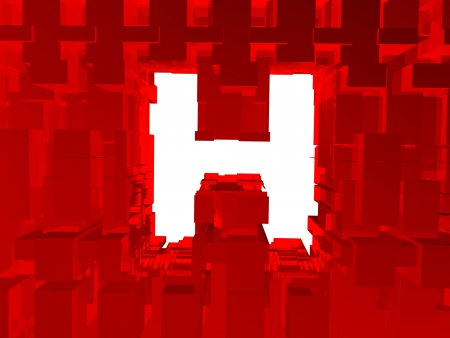 Letter h inside in crystal wall