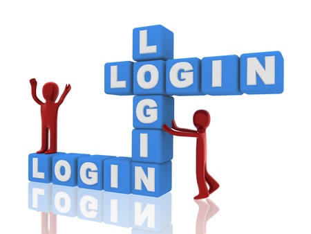 3d persons, login of boxes Stock Photo - 14034721