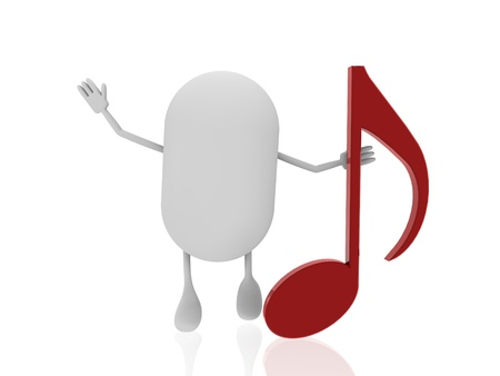 minims: pill with music note Stock Photo