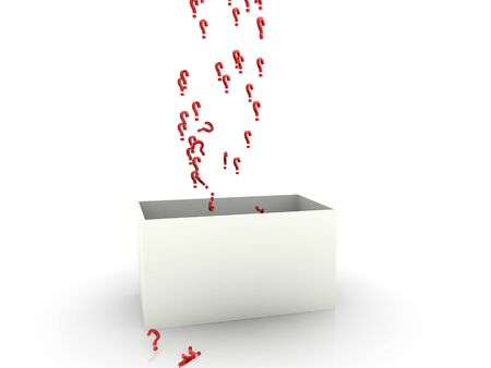 emitter: question signs in box  Stock Photo