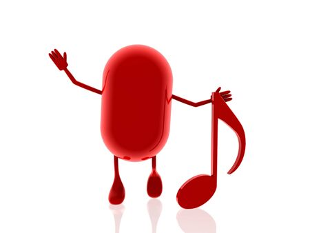 minims: red pill with music note