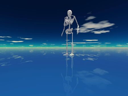 human skeleton on water