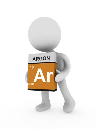 3d man carry a argon box Stock Photo - 18443184