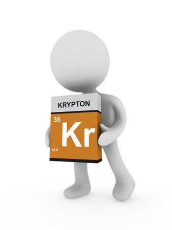 krypton: 3d man carry a krypton box