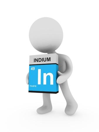 indium: 3d man carry a indium box Stock Photo