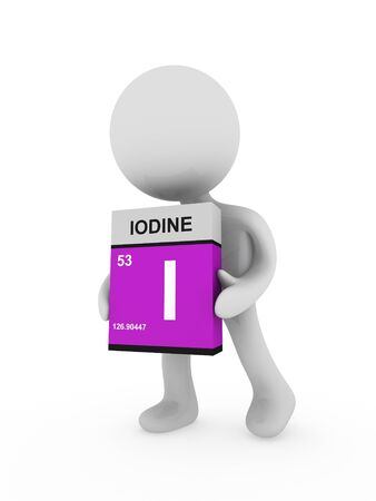 iodine: 3d man carry a iodine box Stock Photo