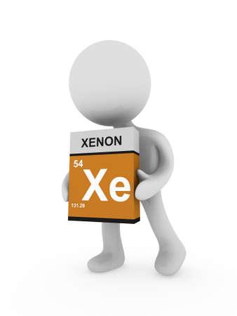xenon: 3d man carry a xenon box Stock Photo
