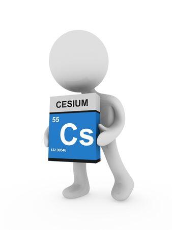 cesium: 3d man carry a cesium box