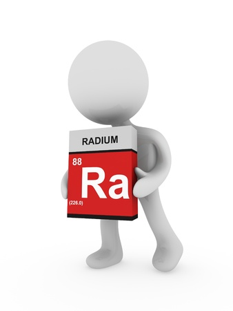 radium: 3d man carry a radium box Stock Photo