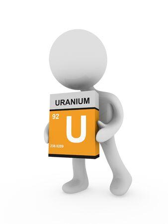 uranium: 3d man carry a uranium box
