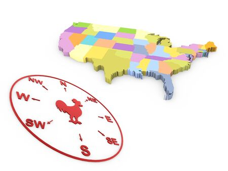 3d navigation compass and usa map Stock Photo