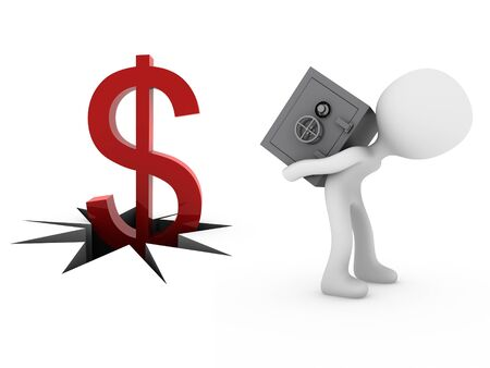 treasury: businessman carry bank safe  Stock Photo