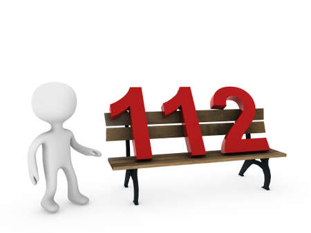 112 on bench  Stock Photo