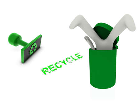 3d person in recycle bin