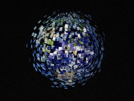 desintegraci�n de la tierra - explotar la tierra en el espacio  Foto de archivo - 7583923