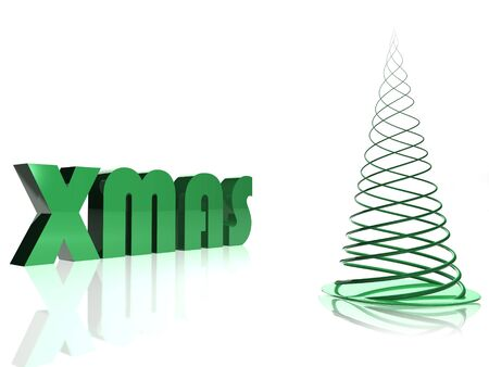 Abstract green christmas tree over white Stock Photo - 8082915