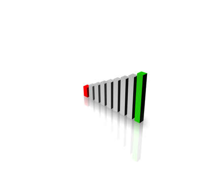Business Graph with red and green - loss and gain bar photo
