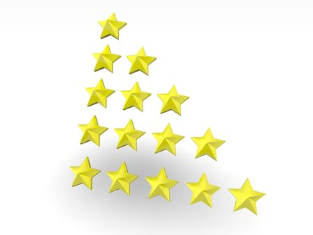 3D yellow rating stars over white Stock Photo - 8082922