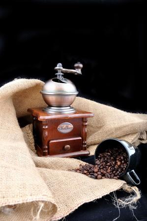 vintage coffee grinder and burlap photo