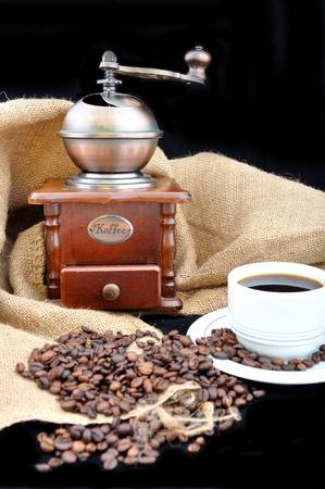 winnower: vintage coffee grinder and fresh coffee
