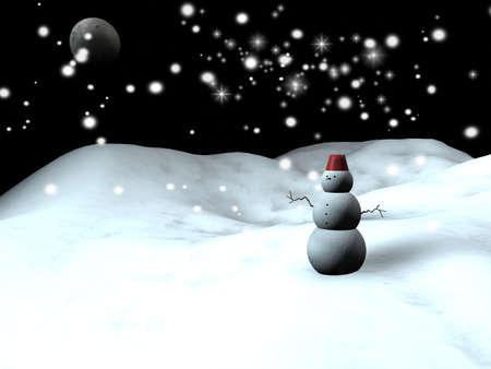 Snow man with a blue starry sky at the background Stock Photo - 8703864