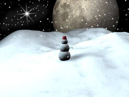 Snow man with a blue starry sky at the background Stock Photo - 8703866