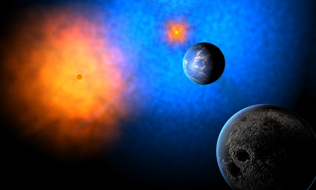 water planet of aliens in system of two suns photo