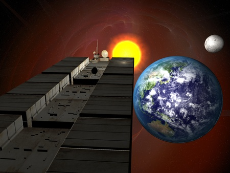 Garbage ship in Sun system over Earth Stock Photo - 9116705