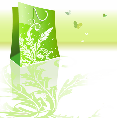 beautiful green bag Vector