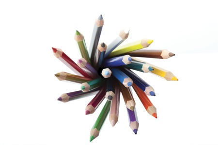 Coloured pencils top view