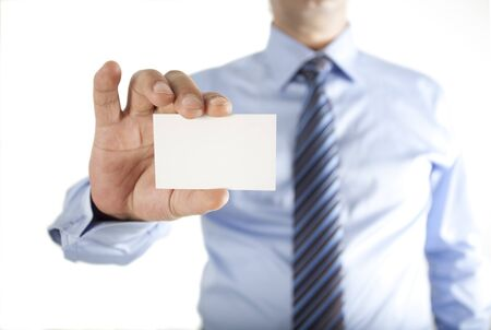 Man holding business card photo