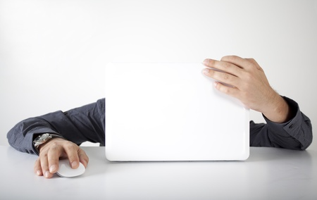 Busy businessman with computer Stock Photo
