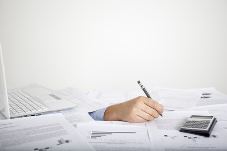 Calculating man hand and documents