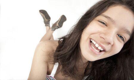 Happy teenager girl smiling